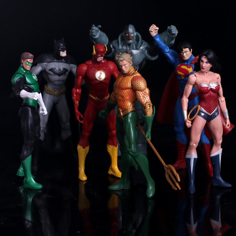 7pcs/set Justice League Superman Wonder Flash Batman Lantern Aquaman Movable 17cm PVC Action Figure Toys Model Doll For Kids ...