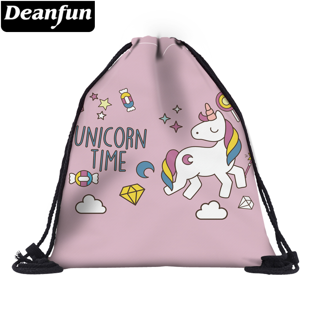 Deanfun 3D Printed Unicorn Drawstring Bag Cute For Girls School 60144
