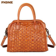 PNDME luxury designer handmade weaving retro genuine leather ladies handbag cowhide womens shoulder messenger bags tote bag
