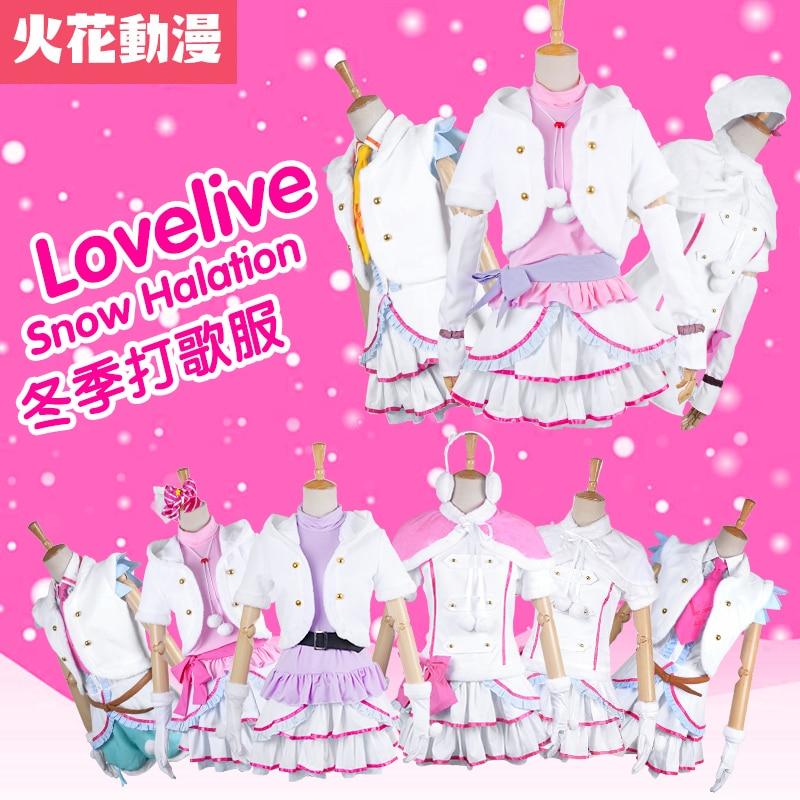 Love Live Snow Halation Yazawa Nico Tojo Nozomi All Members Winter White Dress Cosplay Costume Custom Made