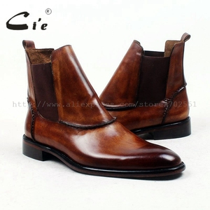 Image 5 - cie round plain toe100%genuine calf leather boot patina brown handmade outsole leather men boot casual mens ankle boot  A94