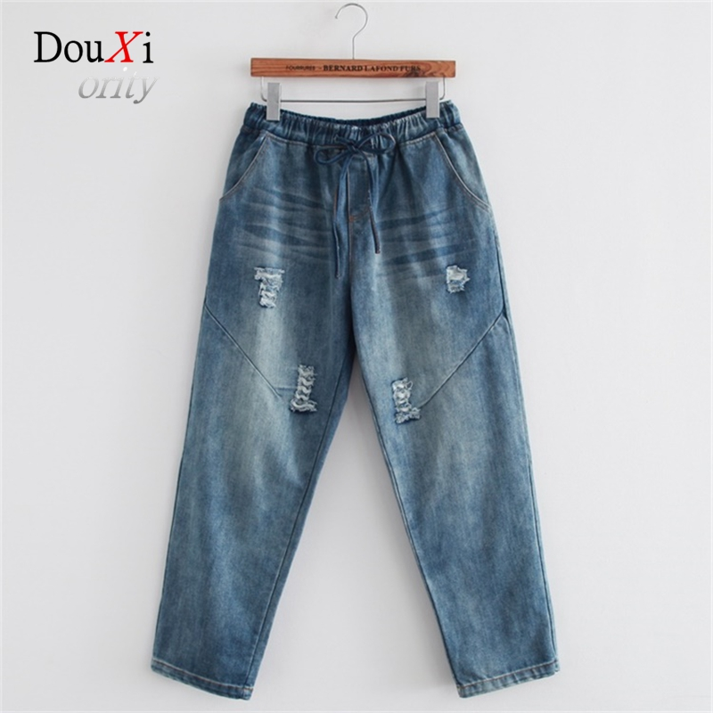 Fashion New Hole Washed Ripped Denim Trousers Loose Female Casual Harem Pants Elastic Waist Boyfriend Jeans For Women Calca boyfriend jeans women ankle length washed denim summer vintage hole ripped letter embroidery harem pants female casual streetwea