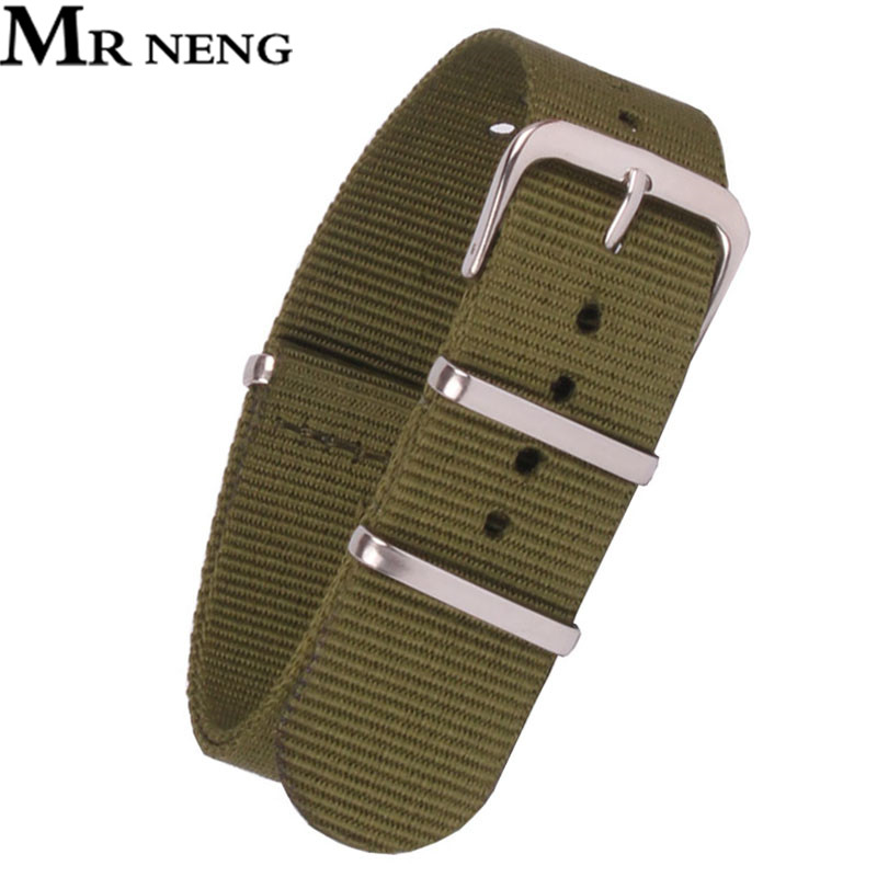 Army Military Nato Vintage Retro Nylon <font><b>Watch</b></font> 22 <font><b>mm</b></font> Green Fabric Woven Watchbands <font><b>Strap</b></font> Band Buckle Belt 12mm-24mm Accessories image