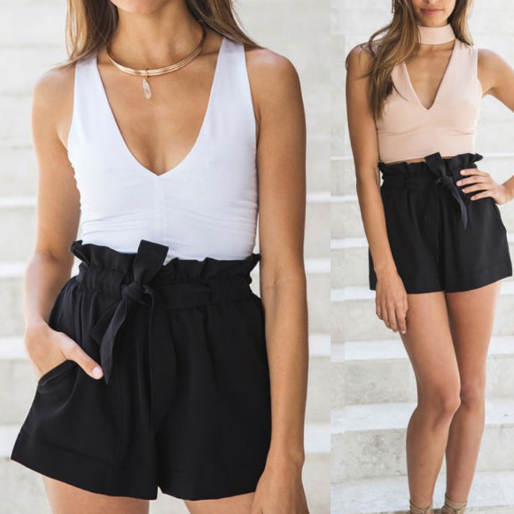 Womail Women   shorts   summer Solid Pocket High Waist Bandage Easy Elastic Casual   short   Skinny Daily denim color j23