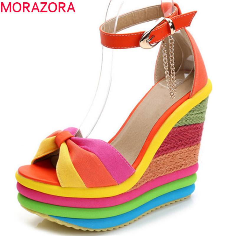 MORAZORA 2019 new arrival women sandals open toe buckle summer shoes fashion wedges platform sandals woman party wedding shoes