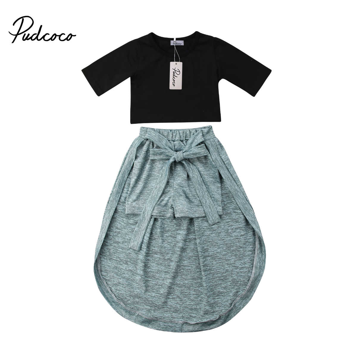 Fashion Toddler Kids Baby Girl Short Sleeve Top Skirts Clothes Outfits Sunsuit