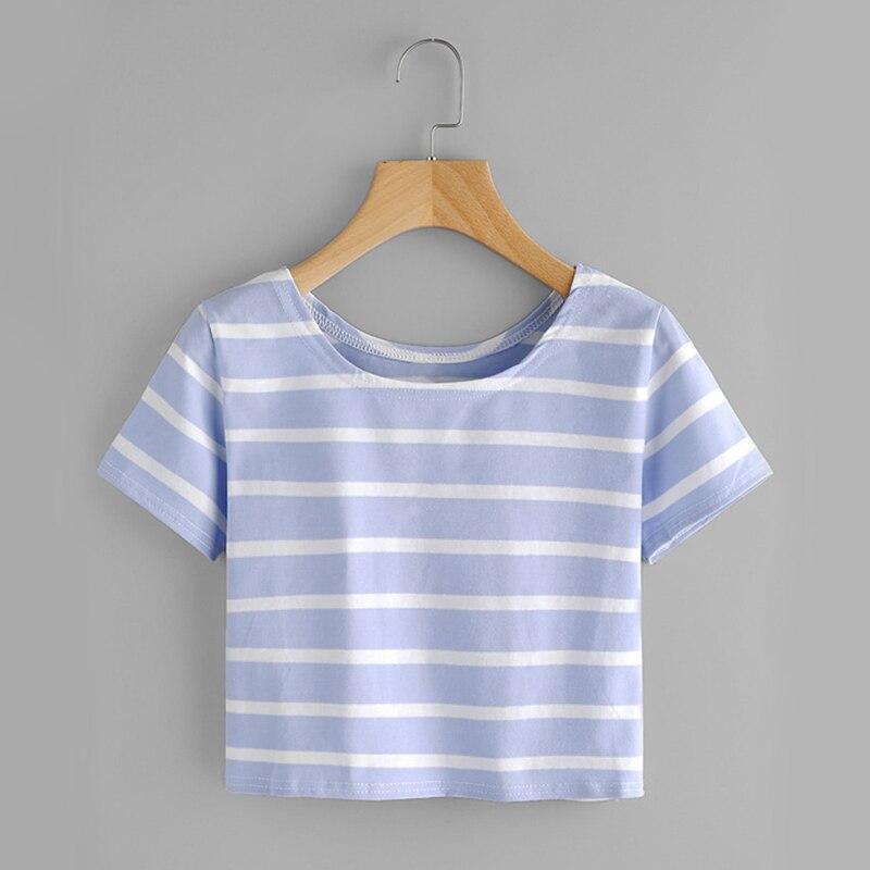 Contrast Blue Stripe Stretchy O Neck Casual T-shirt
