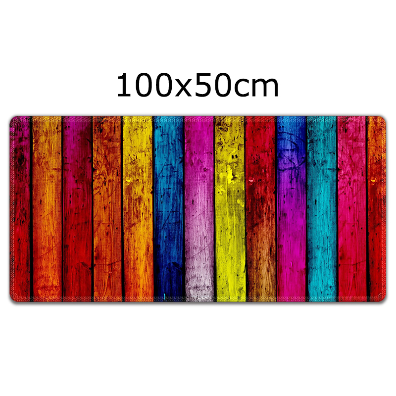 Large mouse pad 1000x500mm Colorful Wood Laptop Gaming Mice Mousepad Anime Cartoon Print Anti slip Game Mouse Pad