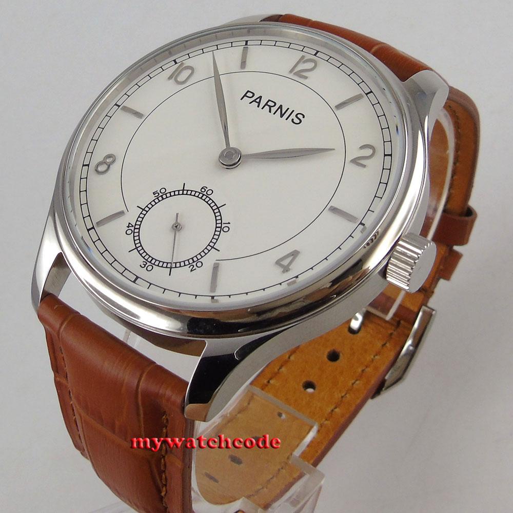 все цены на vintage style 44mm parnis white dial leather asia 6498 hand winding men watch 92 онлайн