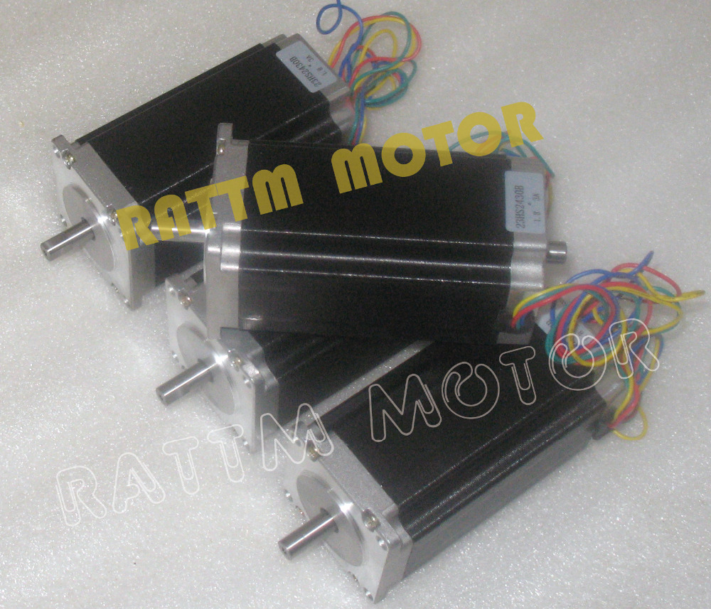 4 pcs NEMA23 23HS2430B 425 Oz-in Dual shaft 2.8N.m 112mm Length stepper motor stepping motor/3A for CNC Router Milling Machine nema23 geared stepping motor ratio 50 1 planetary gear stepper motor l76mm 3a 1 8nm 4leads for cnc router