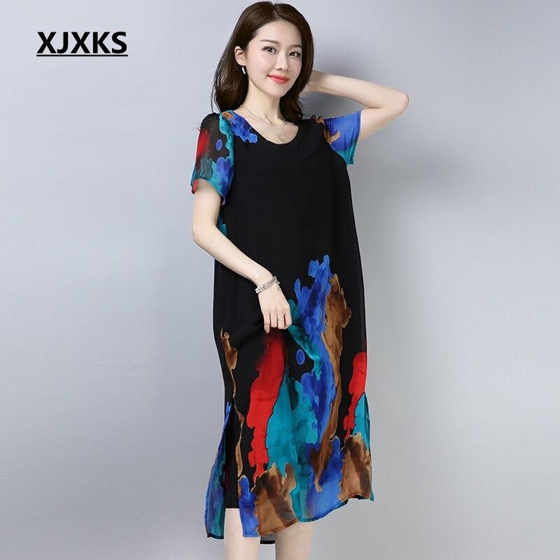 499d83fc5d54 Detail Feedback Questions about XJXKS 2018 Summer Dress Chiffon Large Size  Short sleeved Women Dress Loose Fashion Split Hem Women s Vestidos on ...