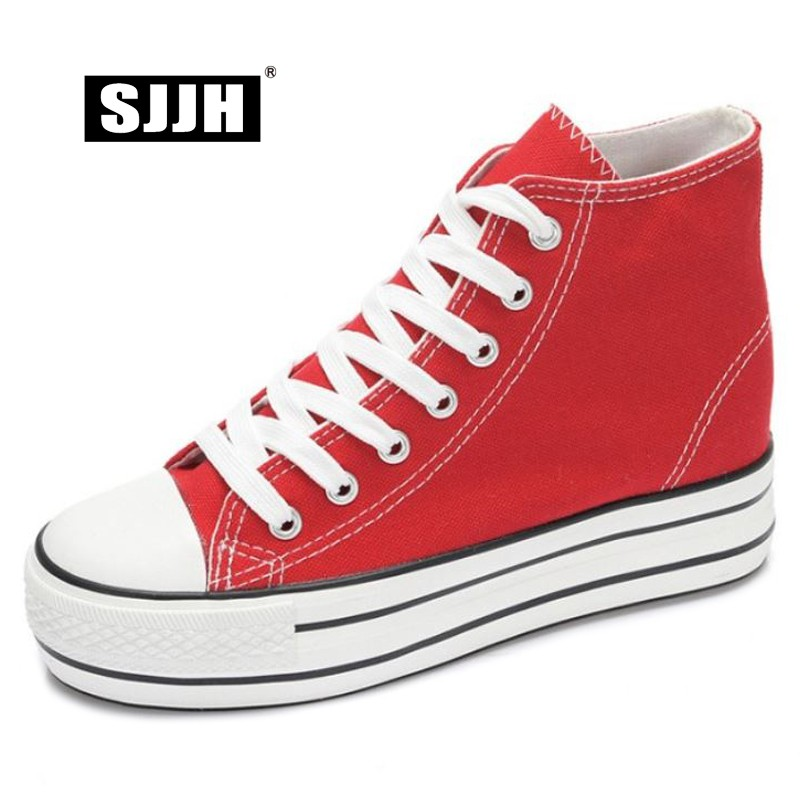 SJJH Women High-top Canvas Shoes Height Increasing Comfortable Footwear Platform Casual Chaussure Lace-up Ladies Shoes D219