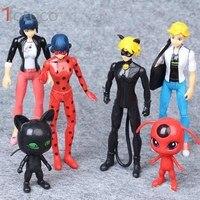 TOFOCO 6PCS Set Miraculous Ladybug And Cat Noir Juguetes Toy Doll Lady Bug Adrien Marinette Plagg