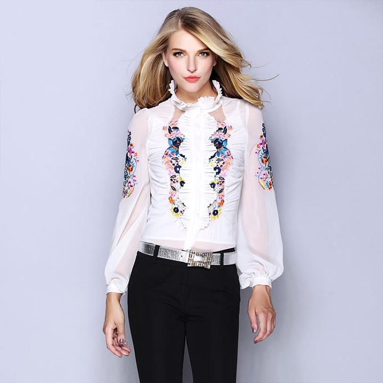 fcf291d09c253 Fasicat Ruffles Silk Blouse Lace blusas femininas camisas Full Length Stand  Collar Women Tops Work Wear Blouse C002260-in Blouses   Shirts from Women s  ...