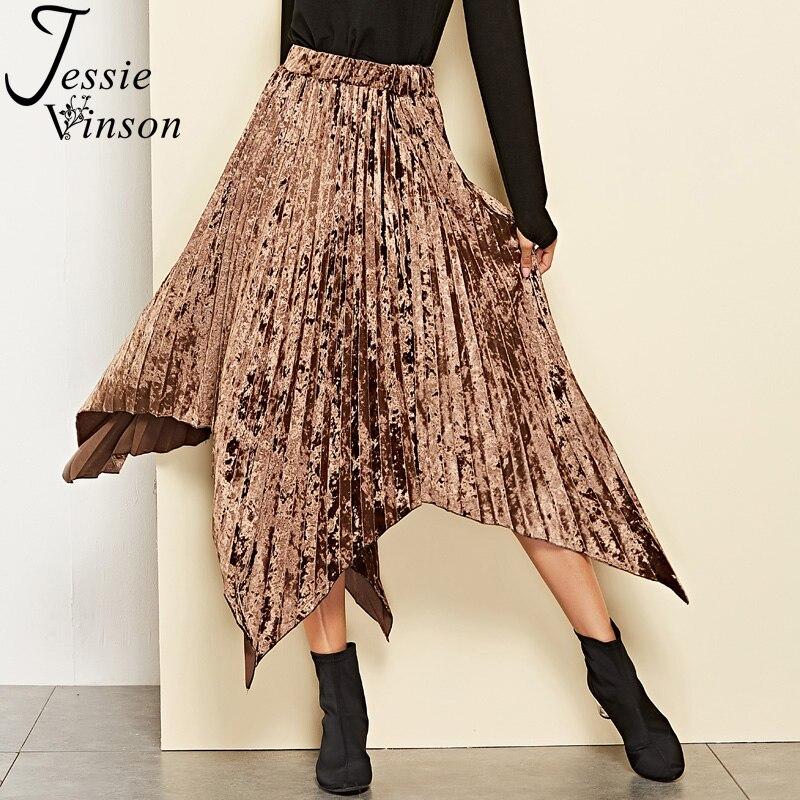 Jessie Vinson High Waist Pleated Asymmetric Velvet Skirt Women Autumn Winter Brown Pleated Long Velour Skirt Female for Winter Велюр
