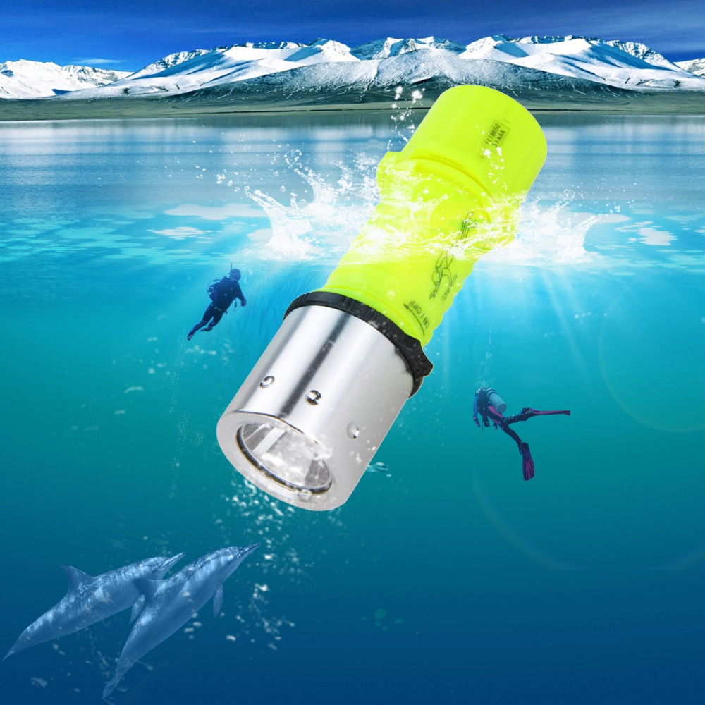 2000LM XML T6 LED Diving Scuba Torch Flashlight Warm Yellow Light AAA/18650 Waterproof