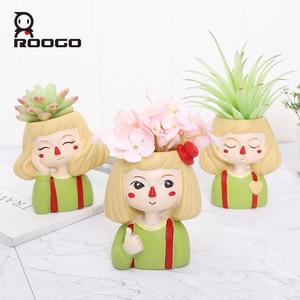 Image 2 - Roogo 유령 말 소녀 꽃 냄비 수지 Cachepot 귀여운 꽃 냄비 즙이 많은 장식 분재 냄비 홈 정원 장식