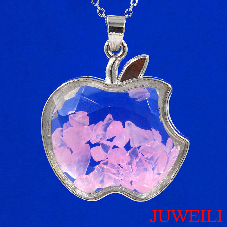 JUWEILI Jewelry Retail 1x Natural Stone Granule Glass Apple Shape Wish Bottle Reiki Pendant Necklaces
