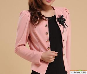Image 4 - 여성 블레이저 2018 플러스 사이즈 l ~ 4xl 5xl 아웃웨어 캐주얼 슬림 숏 레이디 블레이저 코트 브로치와 자켓 chaqueta mujer jaqueta