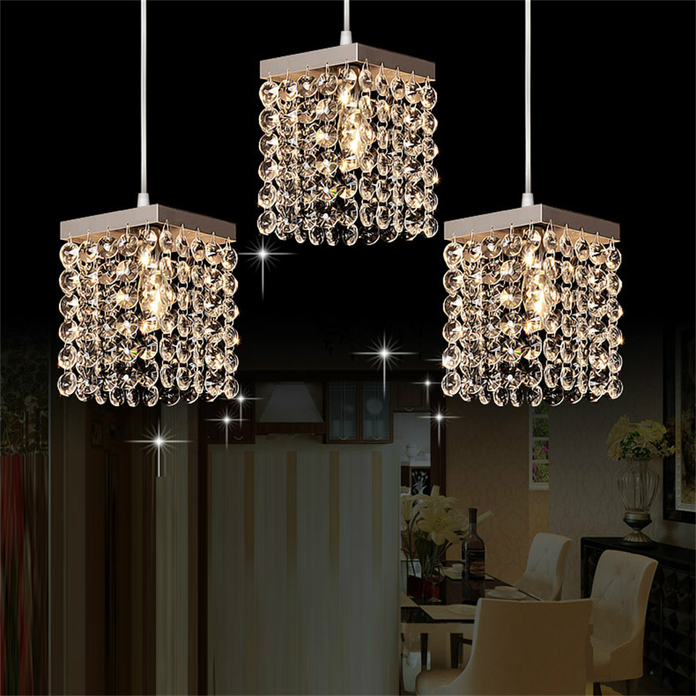 Mamei free shipping modern 3 lights crystal pendant for Contemporary kitchen pendant lighting