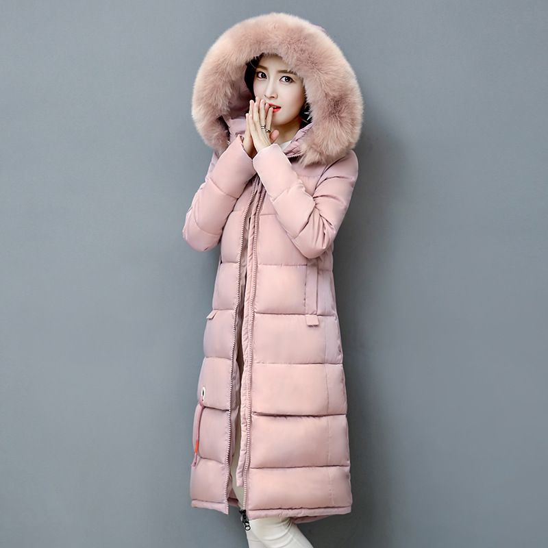 2017 Winter Coat Female Long Maxi Fur Collar Jacket Large Size Hooded Parka Woman Coats and Jackets Thick Autumn Winter Clothes plus size winter jacket parka women long coat big hooded fur collar loose female clothes thick warm woman jackets ladies coats