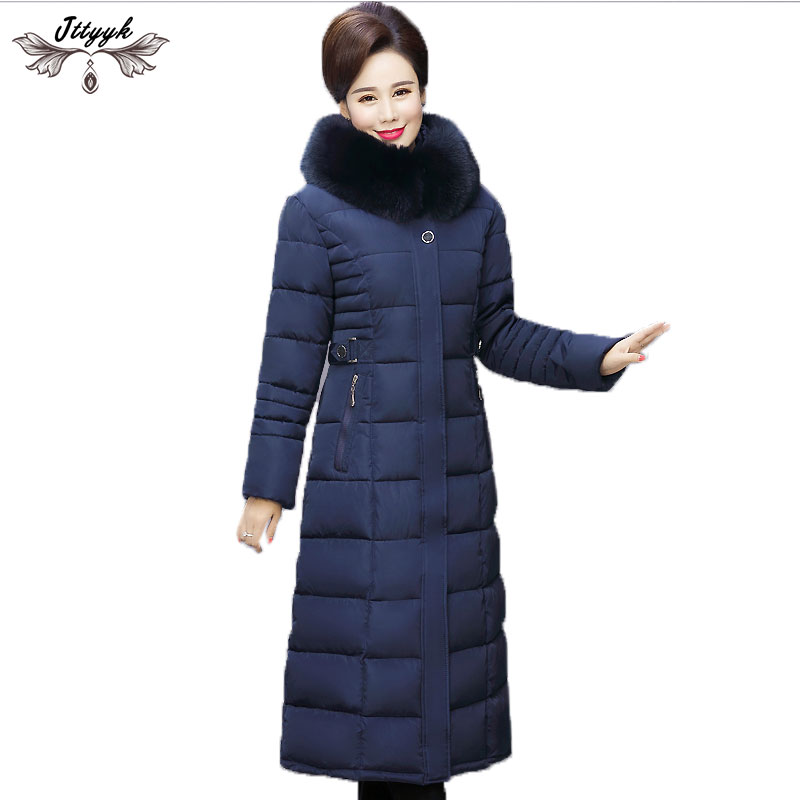 Middle aged Women Winter Jacket 2019 Thick Down Cotton Coats Removable Hooded Long Parkas Warm Jackets
