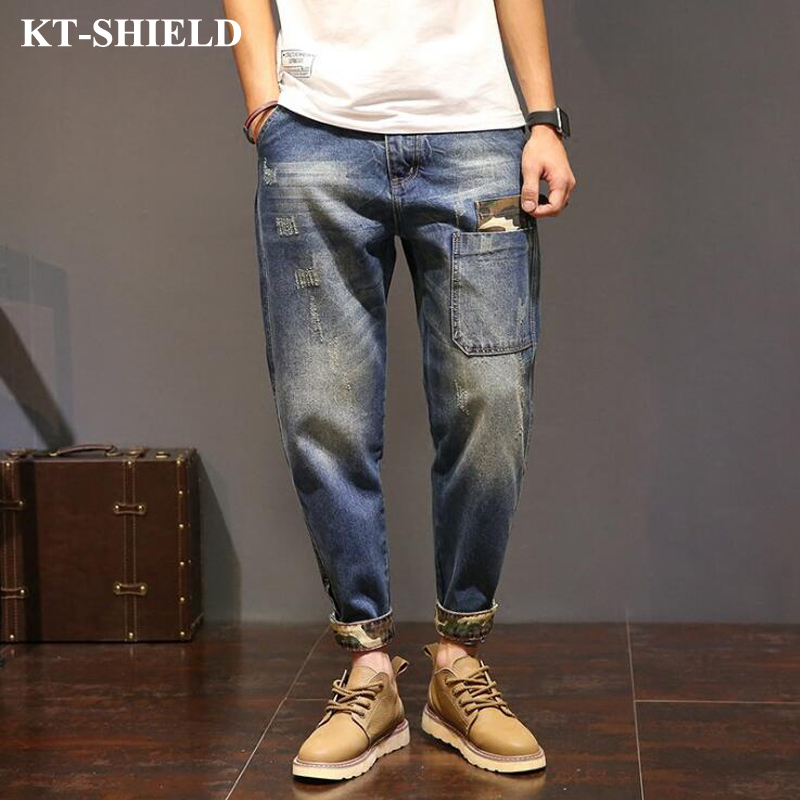 Mens Hip Hop Jeans Fashion Brand Men Loose Denim Pants Distressed Ripped Jeans For Men Casual Male Harem Pants Big Size fashion mens male pants brand zipper jeans men hip hop pants slim hole patch casual jeans fashiontrouser for men free shipping