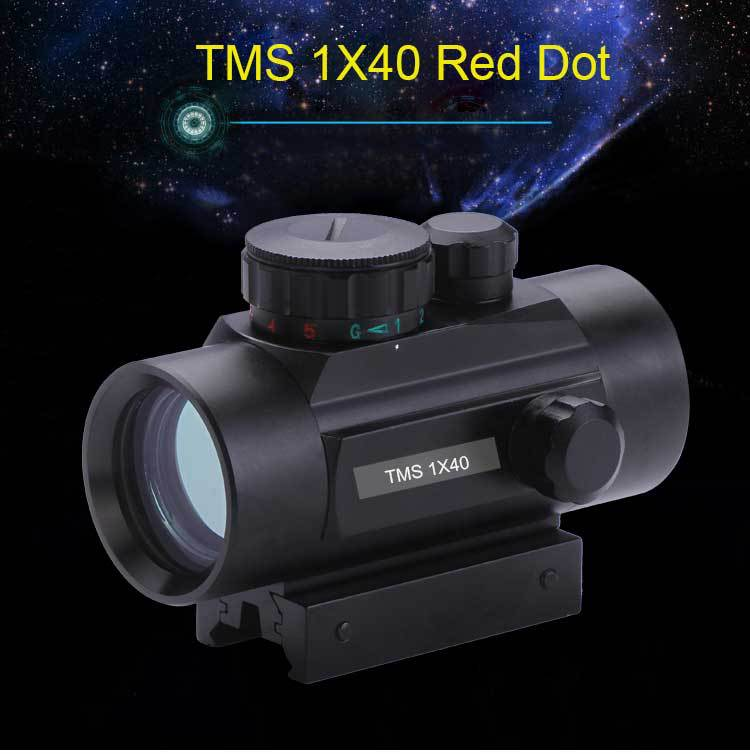 Dual-use Day And Night Vision 1x40 Red Dot Green Illuminated Hunting Sight Scope 11mm & 20mm Weaver Rail
