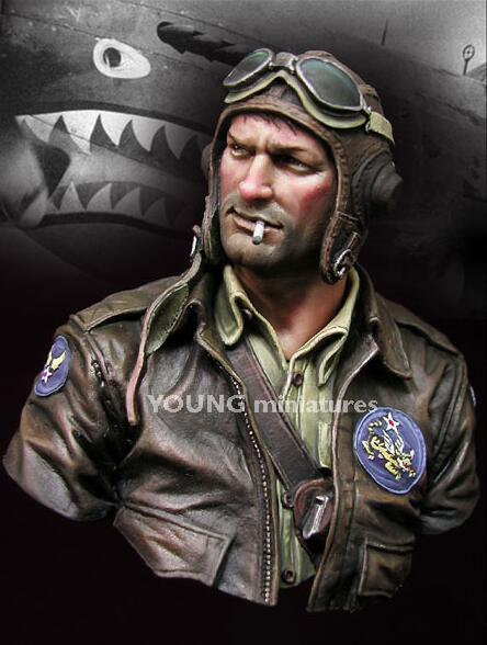 1/10 Resin Bust Flying Tigers Pilot Not Assembled Uncolored