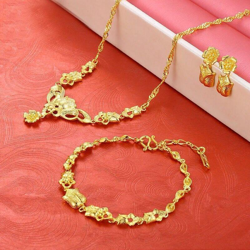 MxGxFam Wedding Jewelry set Pendant Necklace Bracelet Earring For Bridal 24 k Pure Gold Color Rose Flower