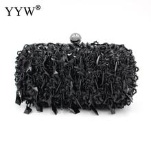 YYW Beaded Evening Party Clutch Bag Women Fashion Black Wedding Handbag Prom Banquet Female 2019 Vintage Wallet Purse