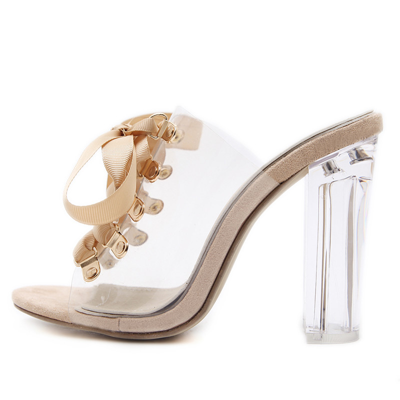 df7a27660bc110 New 2018 Women Transparent Sandals Clear Crystal Heel Lace up Mules Shoes  Woman Block Thick High Heels Loose Gladiator Sandals -in Women s Pumps from  Shoes ...