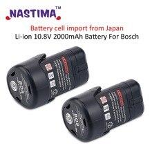 NASTIMA 2pcs Li-ion 10.8V 2.0Ah Battery For Bosch BAT 411A BAT 411 Cordless Drill  BAT412A, BAT413A 2 607 336 013, 2 607 336 014