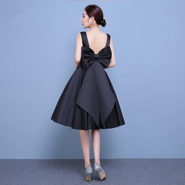 Online Shop Satin Bridesmaid Dress Black Knee Length Boat Neck ...