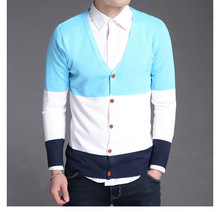 New Spring And Autumn Fashion Sweater Man Fashion Design Patchwork New Year's Warm Cardigan Male M~2XL