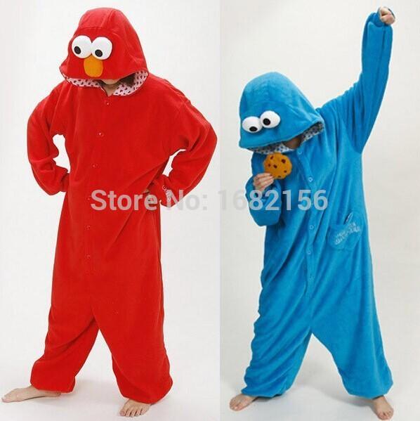 Kigurumi New Flannel Adult Animal Onesie Cookie Monster Pajamas Disfraces For Unisex Sleepsuit Sleepwear Pyjamas