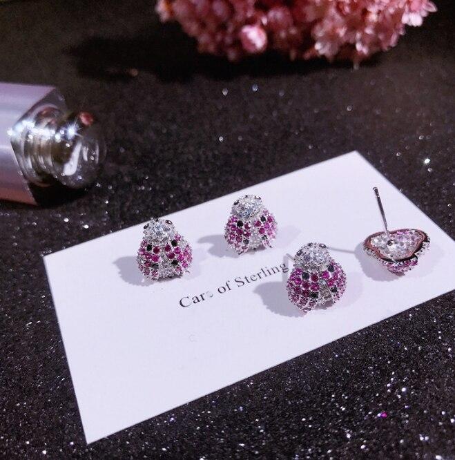 100% 925 argent Sterling argent coloré Zircon petites boucles d'oreilles pour bébé filles mignon cristal insecte boucle Huggies Earriing - 6