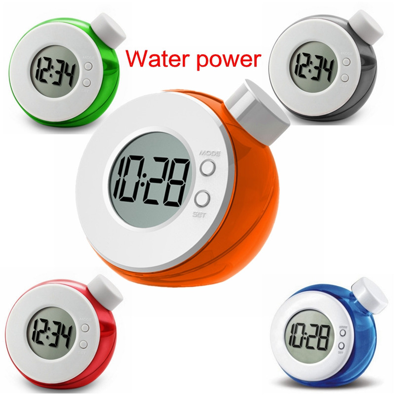 New Arrivals Mini Digital Creative Smart Water Element Clock Magic Water Power Mute Clock With Calendar 4 Colors