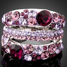 Hot Sale Spring New Fashion silver plated rings Purple Austria Crystals Wedding Rings For Women jewelry party ring Free shipping(China)