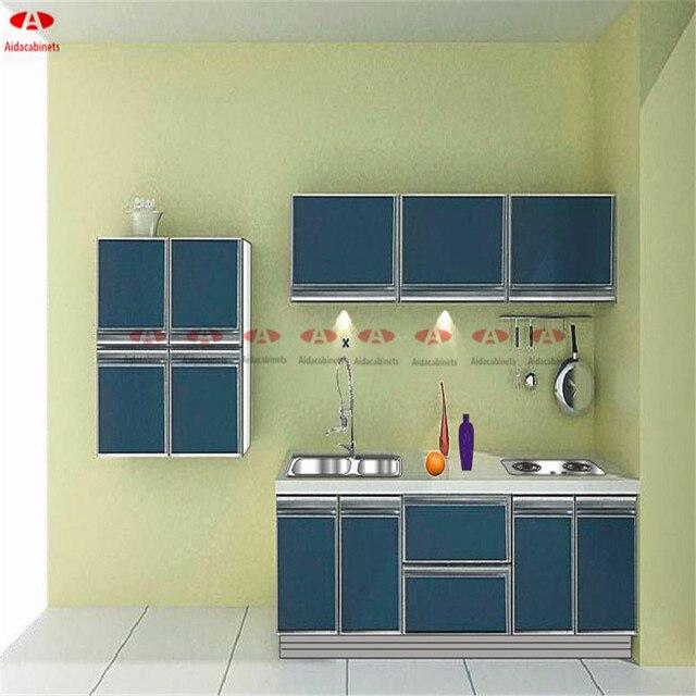 Gloss Tinggi Stainless Steel Kabinet Dapur Untuk Kecil Desain