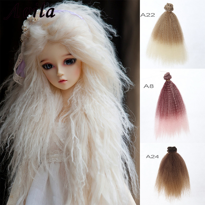 Dropshipping Promotion 15*100cm DIY Mini Tresses <font><b>Doll</b></font> <font><b>Wig</b></font> High-Temperature Material Straight Hair <font><b>Wig</b></font> For <font><b>BJD</b></font> <font><b>Doll</b></font> Accessories image