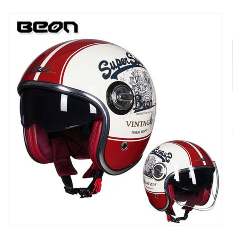 2018 Winter New Eur ECE certification BEON Retro Harley style Motorcycle Helemts Double lens Motorbike Helmet of ABS PC Visor 2016 newest netherlands authorization beon retro air force harley style half face motorcycle helmet b 100 of abs matte black cat