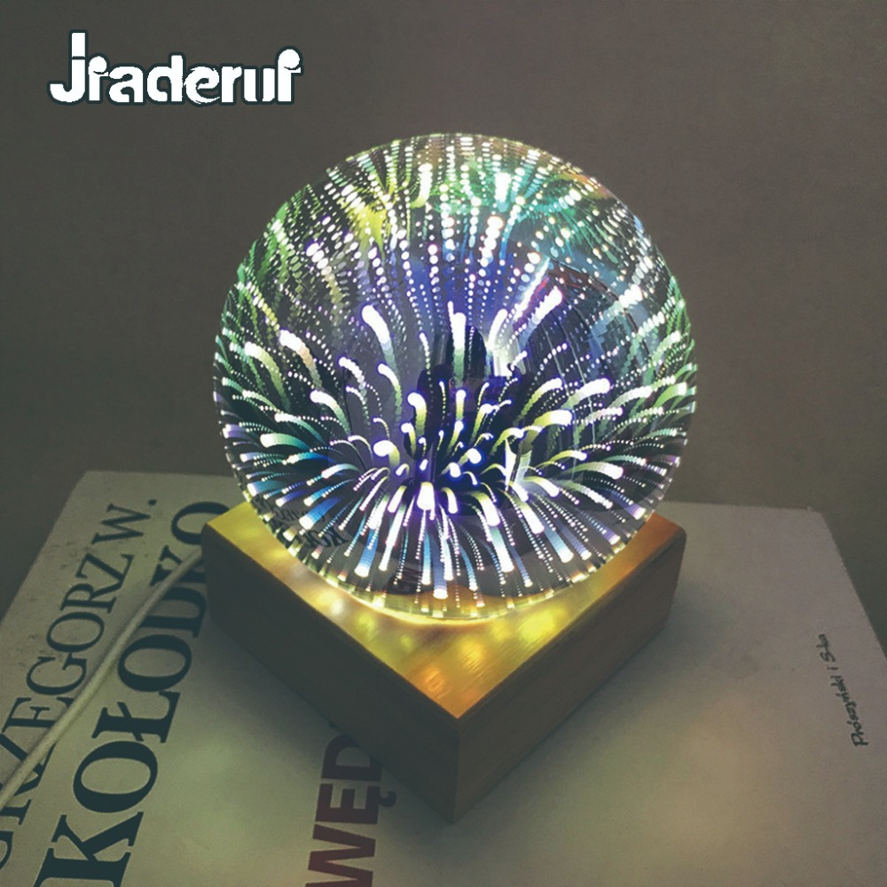 Jiaderui Creative 3D Star Magic Glass Ball Sphere Night Light USB Romantic Fairy Night Lamp Novelty Home Decor Table Lamp lnhf novelty diy led table lamp home romantic pour coffee usb battery night light