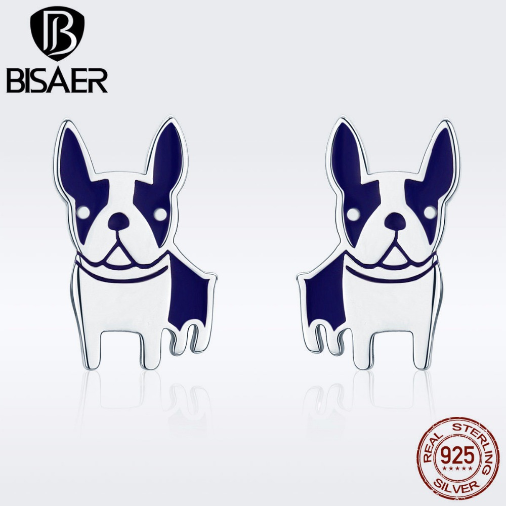 BISAER Bulldog Bijoux 925 Sterling Silver Animal French Bulldog Dog Doggy Stud Earrings for Women Silver Jewelry S925 GXE328