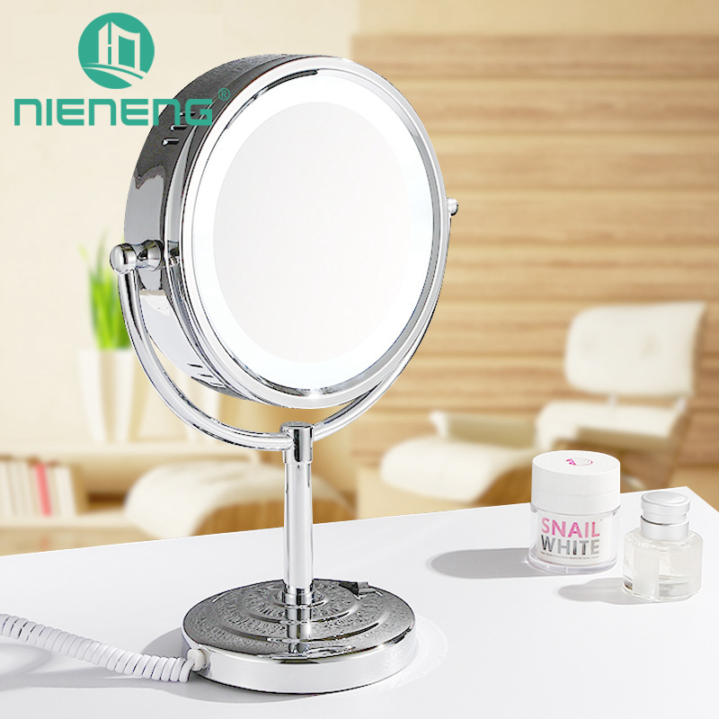 Nieneng Makeup Mirrors LED Cosmetic Table Stand Double Side LED Light Mirror 3X 10X Bath Make Up Mirror Bathroom Mirror ICD60528 alhakin 7 inch led table mirror silver chrome uv finish 10x magnification d710 makeup mirrors cosmetic beauty with ce approved