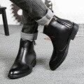 Personalidade inverno Nova Couro Genuíno Formais Chelsea Tornozelo Sapatos Botas Homens Martin Bota Sapatos Flats Zip SMYLMX-E0047