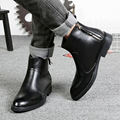 Winter Personality New Genuine Leather Formal Chelsea Ankle Boots Shoes Men Martin Boot Flats Zip Shoes SMYLMX-E0047