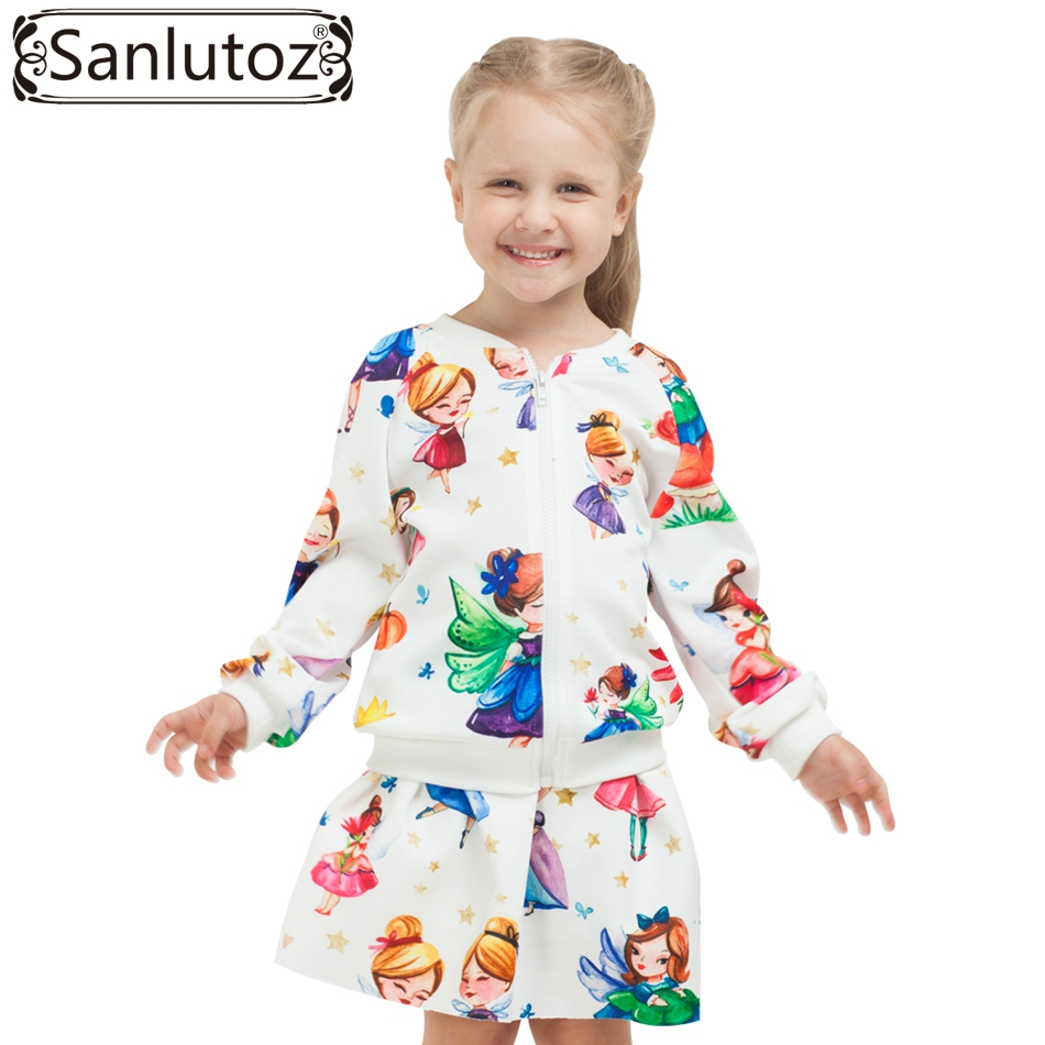 Sanlutoz Children Girls Clothing Sets Winter Autumn Kids Clothes Toddler Sport Suits Tracksuits (Jacket + Skirt) Christmas 2017 autumn winter boys girls clothes sets sports suits children warm clothing kids cartoon jacket pants long sleeved christmas suit