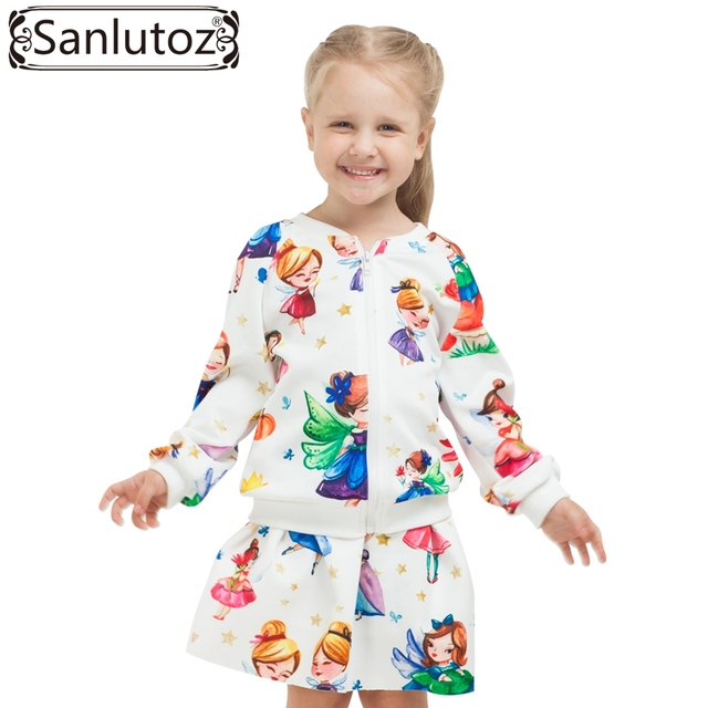 Sanlutoz Children Girls Clothing Sets Winter Autumn Kids Clothes Toddler Sport Suits Tracksuits (Jacket + Skirt) Christmas 2017