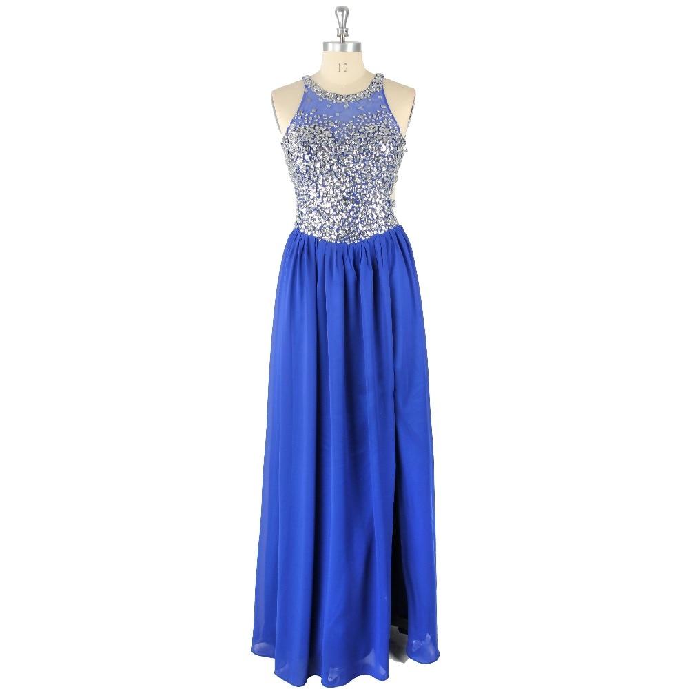 2019 Sexy Blue Natural Waist Sleeveless Halter Beading A-Line Floor-Length Chiffon   Prom     Dress